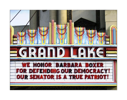 WE HONOR BARBARA BOXER FOR DEFENDING OUR DEMOCRACY! OUR SENATOR IS A TRUE PATRIOT!